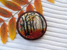 Needle felted brooch Misty autumn. by FeltAccessories on Etsy