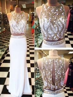 #TBDress - #TBDress Sheath Two Pieces Jewel Neck Beaded Brush Train Prom Dress - AdoreWe.com