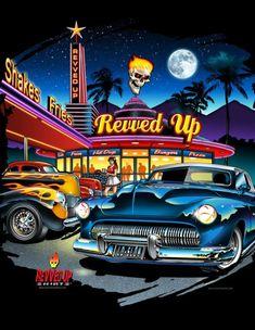 Vintage Diner, Vintage Cars, E Motor, Garage Art, Car Posters, Car Drawings, Automotive Art, Us Cars, Car Painting
