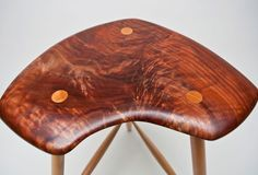 Inspired by the stools of Wharton Esherick and continuing in my exploration of sculptural furniture I created this 3 legged stool out of beautiful