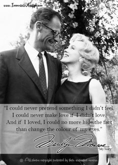 """""""I could never pretend something I didn't feel. I could never make love if I didn't love. And if I loved, I could no more hide the fact than change the colour of my eyes"""" - Marilyn Monroe. Marylin Monroe, Marilyn Monroe Quotes, Norma Jeane, Iconic Women, Beautiful Person, Woman Quotes, Old Hollywood, Movie Stars, Famous People"""
