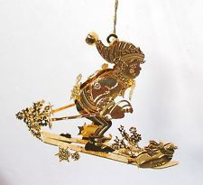 Danbury Mint Annual 2002 SKIER'S DELIGHT Gold Plated Christmas Ornament