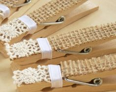 Burlap and Lace Clothespins -Pegs -DIY Wedding Accessory -Shabby Chic Wedding -Victorian Wedding -Country Wedding - NEW by NanacozyBurlap and Lace Clothespins -Pegs I could make these to hang the fabric tip envelopes from the twine to make a garlandBurlap Shabby Chic Wedding Invitations, Decoration Evenementielle, Deco Champetre, Burlap Lace, Hessian, Burlap Crafts, Country Chic, Diy Wedding, Wedding Favors