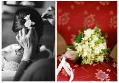 Wedding hair and bouquet with fresia flower