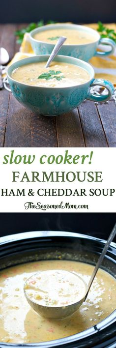 You only need 10 minutes to prepare this easy Slow Cooker Farmhouse Ham and Cheddar Soup -- a cozy Crock Pot dinner to use up leftover ham!