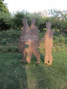 HOT - Little wooden boy - Signage at Zhongshan Park encourages residents to respect the park and allows closer interaction with the vast green space Wooden Signage, Park Signage, Garden Sculpture, Restoration, China, Closer, Respect, Outdoor Decor, Green