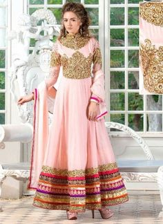 Designer Peach Pure Georgette With Embroidery Patch Border Work Anarkali Suit http://www.angelnx.com/