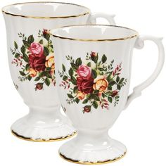 """Royal Albert \""""Old Country Roses\"""" Fluted Mugs, Set of 2 ($45) ❤ liked on Polyvore featuring home, kitchen & dining, drinkware, no color, bone mug, rose mug, rose gold mug, twin pack and colourful mugs"""
