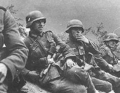 German infantry taking a break during the pause in the fighting.