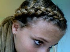 Dutch Braid Ponytail Tutorial - To keep her flyways out of her face at gymnastics?