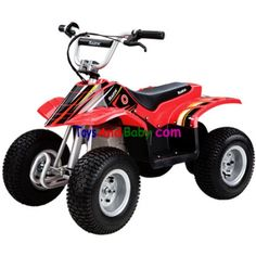 Razor Red Dirt Quad 25143060The Razor Dirt Quad is a miniature electric off-road quad meant for heavy duty off road riding.The compact dirt quad can support up to 120 pounds and offers such features as authentic dirt quad frame geometry, a high-torque gear ratio that provides excellent climbing opportunities, a terrain-tracing droop-travel rear suspension that delivers a smooth ride, shatter-resistant plastic fairings, and a… $398.94
