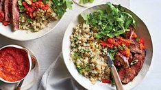 Skirt Steak and Cauliflower Rice with Red Pepper Sauce Recipe - Southern Living