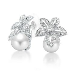 Mothers Day Gifts Bling Jewelry Flower Bridal South Sea Shell Pearl Pave Earrings 9mm -