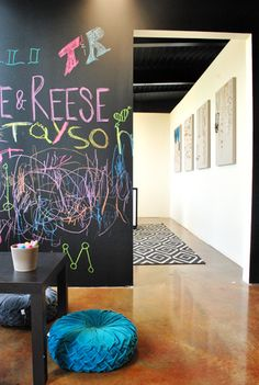 White walls, black ceiling, stained concrete floors and CHALKBOARD WALL. *basement-y swoon*