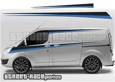 Supplied in 4 pieces for each side of the van. Kit contents: 2 x side graphics, supplied in 2 pieces per side. Ford Transit Camper, Car Starter, Transit Custom, Custom Campers, Racing Stripes, Custom Decals, Car Wrap, Rat Rods, Campervan