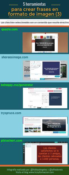 5 herramientas online para crear frases en formato de imagen (3). Infografía realizada con Piktochart. Un saludo Ver 5 herramientas online para crear frases en formato de i...