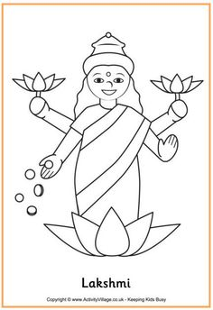 diwali rangoli coloring pages view and print lakshmi colouring page pdf file - Life ideas Easy Drawings For Kids, Drawing For Kids, Cute Drawings, Art For Kids, Drawing Step, Diwali Colours, Rangoli Colours, Diwali Craft, Diwali Rangoli