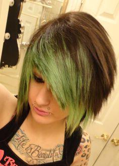 emo boy // emo girl // emo scene punk gothic rocker  // green and brown wig // layers choppy spike spiky // short on Etsy, $99.99