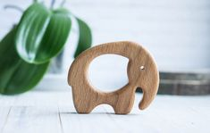 Organic Wooden Teether. Beech Elephant Teething Toy. Hand-carved Teether. Natural Baby Toy. Eco Friendly Infant Toy. Newborn gift.