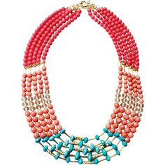 ZOË + SYD Multi-Row Turquoise & Coral Beaded Necklace - jcpenney