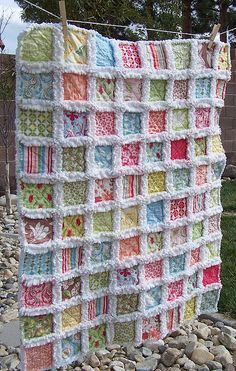 Beautiful rag quilt with Kate Spain fabric.