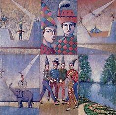 "Juan Urbina Venezuelan contemporary painter-sculptor.  New generation.New Figuration.     ""El circo"""