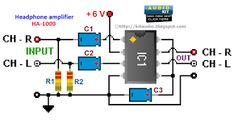Stereo headphone amplifier circuit and PCB_Circuit Diagram World Electronic Circuit Projects, Electronics Projects, Diy Electronics, How To Make Headphones, Headphone Amp, Stereo Amplifier, Circuit Diagram, Stereo Headphones, Loudspeaker