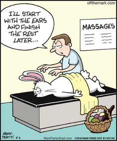 overworked Easter Bunny needs a massage | Off the Mark (2010-04-03) via GoComics