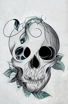 Skull Boho Art Print #art #artprint #loujah #society6 #skull #feathers #boho #illustration #draw #drawing #dessin #design #tattoo #doodle