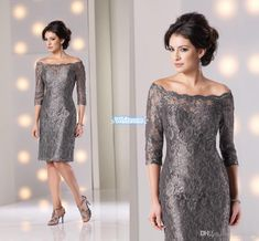 Lace Off Shoulder Mother Of The Bride Dresses 3/4 Long Sleeves Elegant Women Knee Length Sheath Zipper Formal Wedding Party Dresses 2016 Mother Of The Bride Hairstyles Mother Of The Groom From Whiteone, $100.88| Dhgate.Com