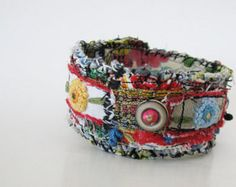 Artsy Cuff Boho Hipster Red Blue Yellow One of a by itzaChicThing Fabric Bracelets, Handmade Bracelets, Handmade Jewelry, Cuff Bracelets, Denim Bracelet, Bangles, Textile Jewelry, Fabric Jewelry, Fabric Beads