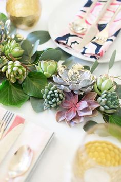 Lovely Indeed shares how to make this modern metal-leafed succulent runner using succulents and greenery from Flower Muse.