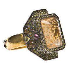 Sevan Bicakci 24K Gold Ring with Citrine, Diamonds and Layered Paintin