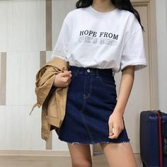 Girl, fashion and style image on we heart it korean fashion summer casual, korean Fashion In, Korea Fashion, Asian Fashion, Skirt Fashion, Trendy Fashion, Fashion Outfits, Fashion Ideas, Hipster Outfits, Style Fashion
