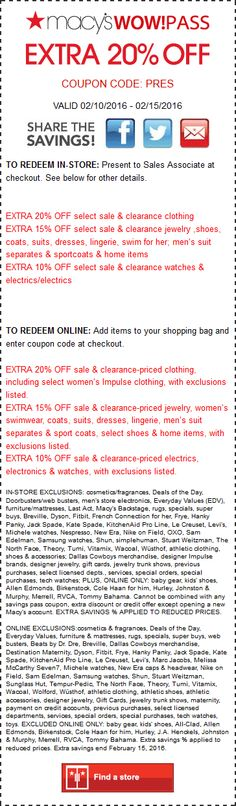 Pinned February 10th: Extra 20% off at #Macys or online via promo code PRES #coupon via The #Coupons App