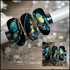 Chorme Nails, Foil Nails, Matte Nails, Nail Art Designs Videos, Fall Nail Designs, Gorgeous Nails, Pretty Nails, Art Deco Nails, Nagel Bling