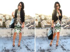 I love that Dress: Zara (similar style here); Blazer: No label, via Ambiance in SF (similar style here); Shoes: Zara; Bag: Zara; Sunglasses: Ray-Ban; Jewelry: Michael Kors watch, Asos spike bracelet, assorted gifted bangles, H necklaces