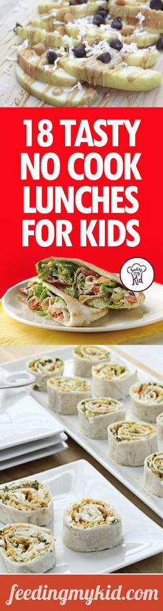 18 Tasty No Cook Lunches For Kids - We've got an amazing list of no cook lunch recipes that you can prepare for your children right in the morning before school. Take the hassle out of preparing healthy lunches. Check out these great recipes! Lunch Snacks, Lunch Recipes, Baby Food Recipes, Great Recipes, Healthy Snacks, Cooking Recipes, Healthy Recipes, Picnic Recipes, Eat Healthy
