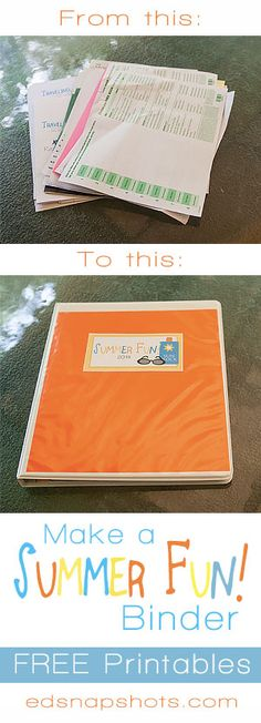 Use these free printables and office supplies you have around the house to make a quick and easy binder for all your summer paper clutter -- reading program guides, registration forms, calendars, etc. Summer Fun Binder | Everyday Snapshots