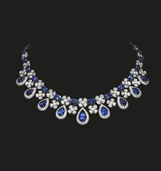 Sapphire and Diamond Necklace | Magnificent diamond and sapphire necklace reflecting the beauty of nature. Sapphires 59.40 cts Diamonds 25.56 cts #houseoftabbah #tabbah #GemNecklace