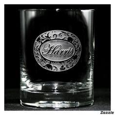 Ornate Damask Personalized Whiskey Glasses