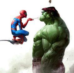 Hulk looks a little bit angry. #humor #spiderman #hulk