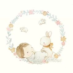 No photo description available. Happy Birthday Illustration, Easter Illustration, Watercolor Illustration, Nursery Prints, Nursery Art, Dibujos Baby Shower, Baby Gift Hampers, Baby Girl Quotes, Baby Painting