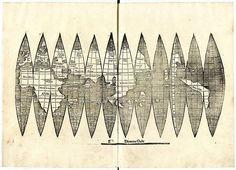 Saksasta löydetty kopio kartasta, jossa Amerikka mainitaan ensimmäisen kerran. Amerikka on kartassa oikealla oleva hieman bumerangia muistuttsva alue.