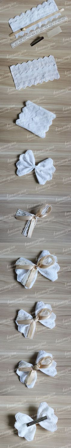 ribbon n lace hair clip how to: