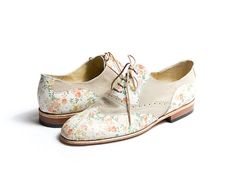 beige and flower oxfords from goodbyefolk. available on etsy