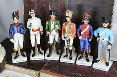 Set of 6 Napoleonic Officer Soldier Porcelain figurine statues divisions army