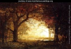 Albert Bierstadt Most Famous Painting | Forest Sunrise - Albert Bierstadt - www.most-famous-paintings.org