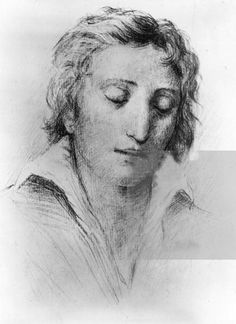 Sketch from 1 January 1810, 'Dreamy Shelley'.  by Unknown artist.  He was 18,  In April of this year he matriculated at University College Oxford.  According to reports he attended only one lecture while at Oxford but read 16 hours a day.  This was also the year his first novel was published 'Zastrozzi'.  This is where he first wrote of his atheistic leanings.