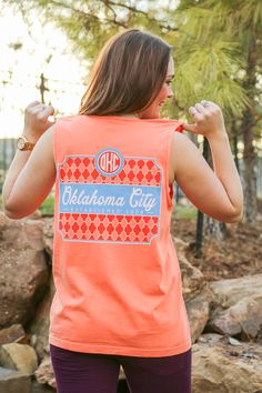 OKC Monogram Comfort Colors Tank from Kickoff Couture #okc #oklahomacity #monogram #tank #comfortcolors #thunder #gameday #kickoffcouture